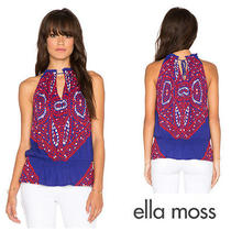 Ella  Moss   Fez   Boho  Scarf  Print Gypsy  Top    Sz Xs   New    148  Photo