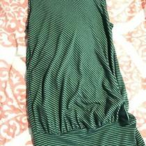 Ella Moss Green Blue Striped Top Open Back Tank Xs S Made in Usa Tight Bottom Photo