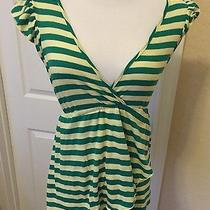 Ella Moss Green Yellow Gold Striped v Neck Flutter Sleeves Shirt Top Sz M Photo