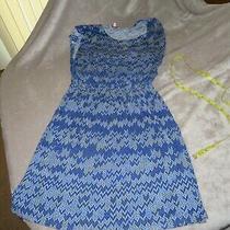 Ella Moss Medium Cotton/rayon Knit Dress  Blue White & Yellow  Fully Lined Photo