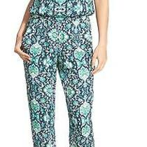 Ella Moss New Blue Green Floral Print Women Size Medium M Jumpsuit 258 744 Deal Photo