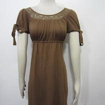 Ella Moss Nordstrom Brown Lace Neckline Jersey Knit Casual Baby Doll Dress Sz S Photo