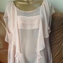 Ella Moss Peach Silk Floaty Frilled Top With Embellished  Square L Photo