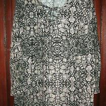 Ella Moss S Tunic Top Shirt Blouse Floral Print Artsy Boho Popover Lace Up Long Photo