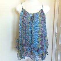 Ella Moss Silk Aqua Geometrical Tribal Tank Retail 142 Photo