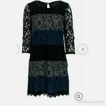 Ella Moss Womens Black Gray Blue Sheer Floral Lace Sleeves Shift Dress Small Photo