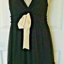 Ella Moss Womens Black Sleeveless Lace Over Dress W/ White Bow sz.m Photo
