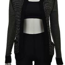 Ella Moss Womens Sweater Size 0 Black Gray Woven Cardigan Long Sleeve Cotton Photo