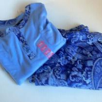 Ellen Tracy 2 Piece Pajama Set Sz Xxl  Microfleece Blue Nwt Paisely Print Photo