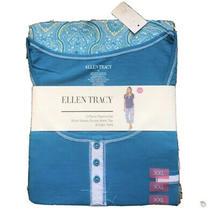 Ellen Tracy 2 Piece Pajama Set Sz Xxl Turquoise Blue Paisely Capri Pants Photo