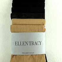 Ellen Tracy 6 Pair Trouser Socks Sz 9-11 Beige Brown Black Photo