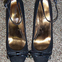 Ellen Tracy Black Micro Suede Ankle Strap Wedge Size 7 (2366) Photo