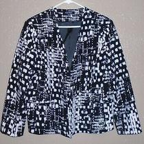 Ellen Tracy Black & White Cardigan Blazer Size 16 Nwot Photo
