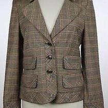 Ellen Tracy Blazer Size 4 Brown Plaid Long Sleeve Polyester Jacket Photo