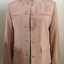 Ellen Tracy Company Pink Blush Solid Women's Suede Leather Jacket Size 6 900 Photo