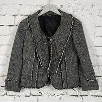 Ellen Tracy Deconstructed Lagenlook Tweed Blazer Black White Art-to-Wear Size 4  Photo