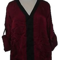 Ellen Tracy Filigree Womens L Silky Blouse Top Pull Over Loose Solid Red Roll Up Photo