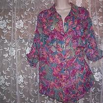 Ellen Tracy Gently Worn Polyester Long Sleeve Floral Blouse   1x Photo