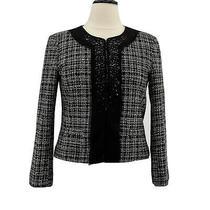 Ellen Tracy Jacket Womens Black & White Tweed Blazer Rhinestones Size 12 Large Photo