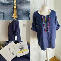 Ellen Tracy Marina Blue Casual Linen Top Gold Tassel Front Zip Detail 70 Sz M Photo