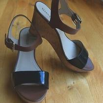Ellen Tracy Patsy Black Leather Cork Heel Strappy Sandals Wedge Shoes (7.5 m) Photo