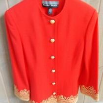 Ellen Tracy Red Wool Blazer Gold Buttons Gold Embroidered Hem Sz 6 Photo