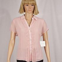 Ellen Tracy Size Large Quartz Pink Pleat Front Button Down Short Sleeve Blouse  Photo