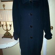 Ellen Tracy Vintage Dress Coat Dreamy Navy Blue Size S but Fits Like a Med/large Photo
