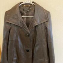 Ellen Tracy Womens 100% Leather Jacket Coat Brown Button Front Size Small Photo