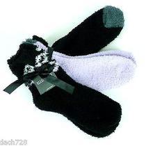 Ellen Tracy Women's Slipper Socks 3 Pairs One Size Black/lilac Photo