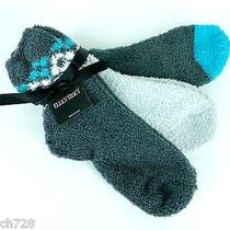 Ellen Tracy Women's Slipper Socks 3 Pairs One Size Charcoal/gray/turquoise Photo