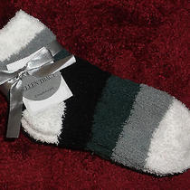 Ellen Tracy Women's Slipper Socks Black Gray White 3 Pair Size 9-11 Warm Cozy    Photo