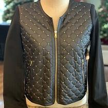 Ellen Tracy Womens Medium Black Faux Leather Gold Stud Zip Stretch Knit Jacket Photo