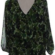 Ellen Tracy Womens S Peasant Top Pull Over v-Neck Print Green Casual 3/4 Sleeve Photo