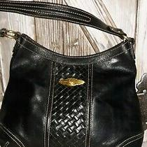 Elliott Lucca Black 100% Leather Woven Detail Hobo Shoulder Bag Purse Beautiful  Photo