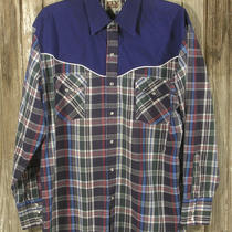 -Ely Cattleman-  Fine Cowboy-Style Mens/medium Ls Shirt Fancy W/piping Photo