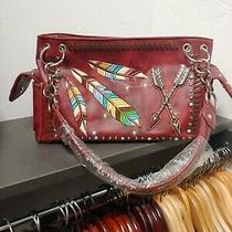 Embellished Brick Red New Tagged Bohemian Feather Purse Vegan Friendly Photo