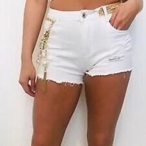 Embellished Pearl and Chain Customised Reclaimed White Denim Shorts Photo