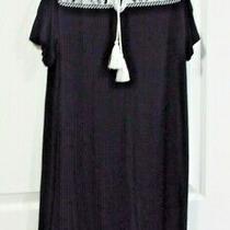 Embroidered Cold Shoulder Tassels Knit Dress Sz M Black Photo