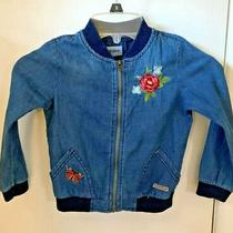 Embroidered Hudson Lightweight Blue Zippered Jacket - Girls Size 4t Photo