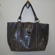 Emilie M Large Tote Handbag Laptop Faux Croc Euc Photo