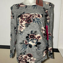 Emmas Expressions Maternity Blouse Stretch Floral Gray Top Women's Size S. Nwt Photo