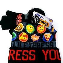 Emoji Movie Express Yourself Beanie Knitted Hat Glove Set Kids One Size New Tags Photo