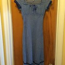 Empire Waist 3/4 Length Mid-Calf Dress Vintage Urban Outfitters Blue Size Xs Photo