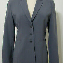 Emporio Armani Blazer Gray Long Sleeve 3 Button Front Wool Blend Lined Long 36 Photo