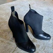 Emporio Armani Boots Leather Black Ankle High Heels Booties Size 39 Photo