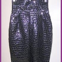 Emporio Armani Crocodile Alligator Patent Leather Corset High Waist Pencil Skirt Photo