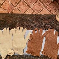 Emporio Armani Gloves Size Small Ivory and Brown Photo