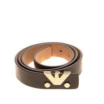 Emporio Armani Leather Belt Size 42/m 85/34 Patent Panel Blank Buckle Closure Photo
