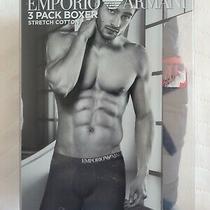 Emporio Armani Men's 3 Pack Boxers Stretch Cotton Navy Underwear Size S Small Photo